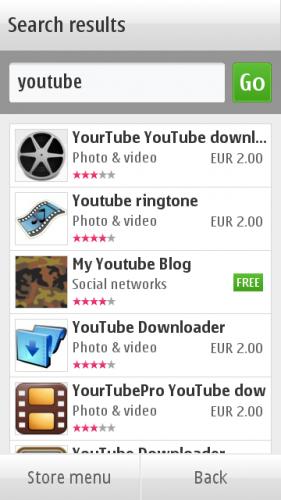 """Ovi Store → Search: резултати претраге за кључну реч """"youtube"""""""