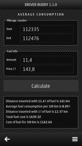 Driver Buddy 1.1.0: Average consumption: Mileage counter