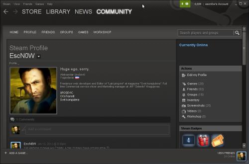 Steam клијент на Линуксу покренут кроз WINE