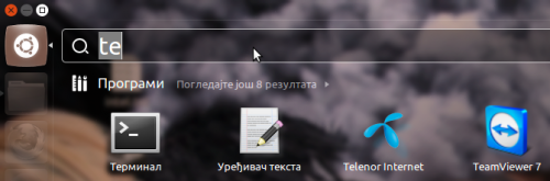 Пречица за покретање апликације Теленор Интернет у менију окружења Unity
