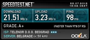 Теленор 42: најбрже преузимање 3,23 Mbps у мом селу
