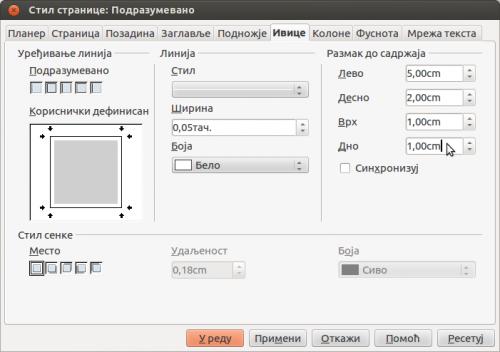 LibreOffice Writer: Формат → Страница... → Ивице