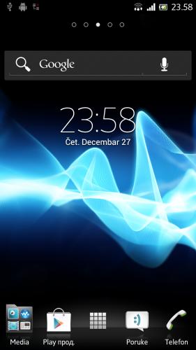 SONY XPERIA ION први екран