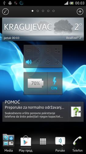 SONY XPERIA ION индикатор батерије