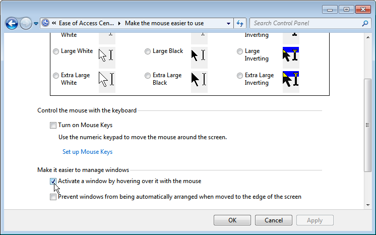 Control Panel: Activate a window by hovering over it with the mouse