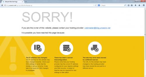 Подразумевана страница непостојећег сајта на серверу