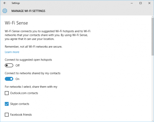 Windows 10: Network & Internet: WiFi