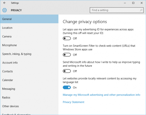 Windows 10: Privacy: General