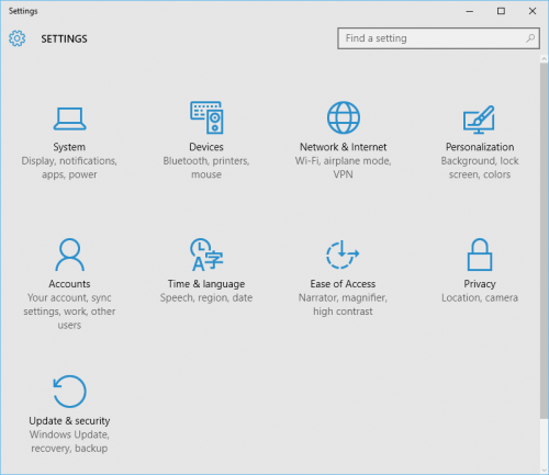 Windows 10: Settings