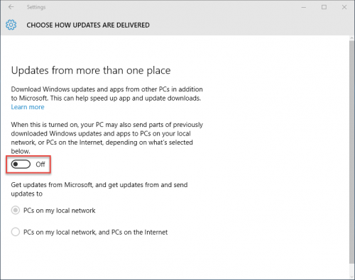Windows 10: Update & security: Choose how updates are delivered