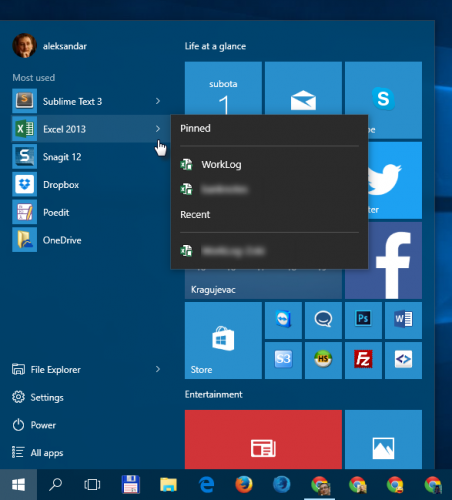 Windows 10: Start: Most used apps