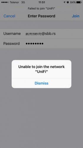 УниФи - није могуће приступити мрежи